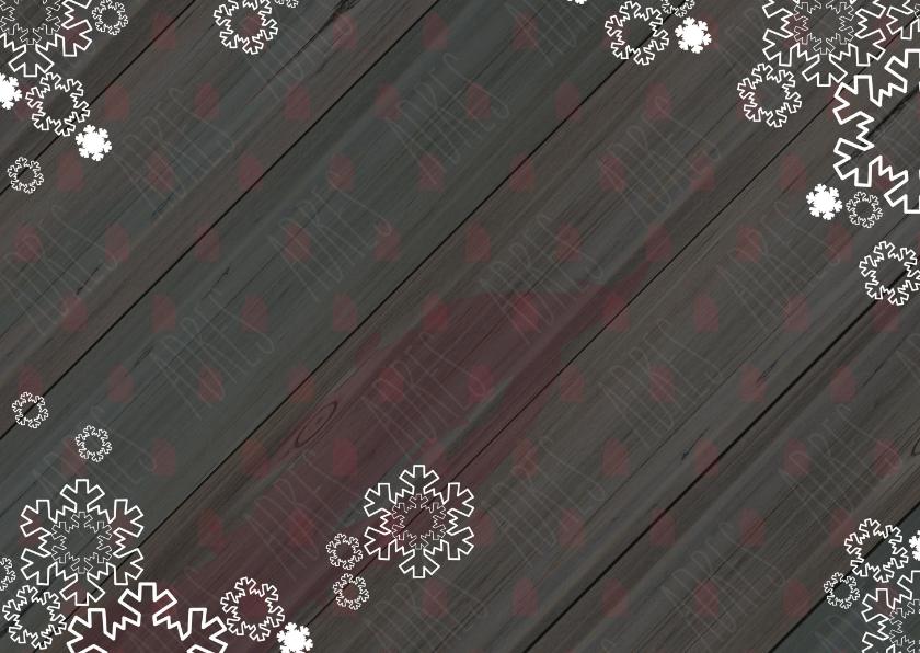 Kerst verhuiskaart met houtprint huisje en sneeuw 2