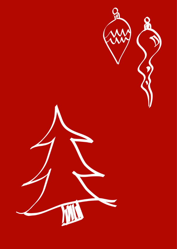 Kerst verhuiskaart met kerstballen 2