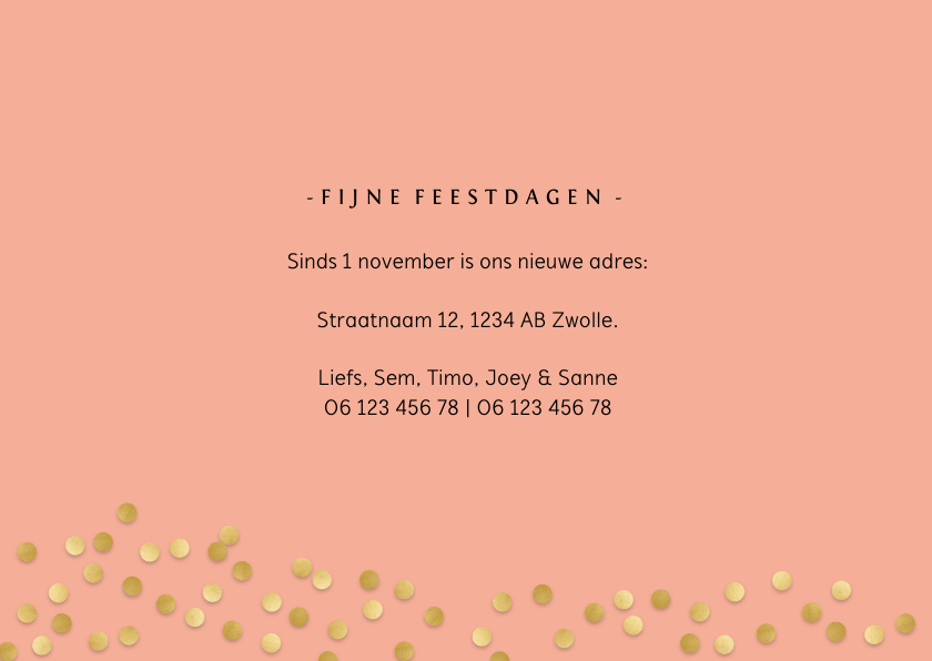 Kerst-verhuiskaart  met sierlijke letters en foto's 3