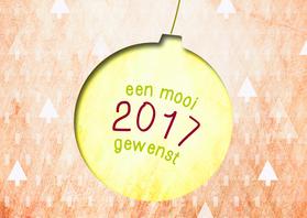 Kerstkaarten - Kerstbal 2017 goud oranje