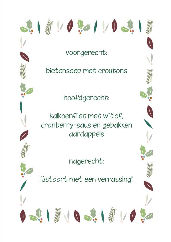 Kerstblaadjes groen menukaart 3