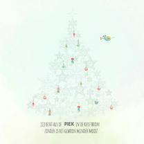 Kerstkaarten - Kerstboom pastel vierkant