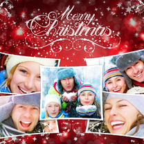 Kerstkaarten - Kerstcollage rood 5 foto's - BK