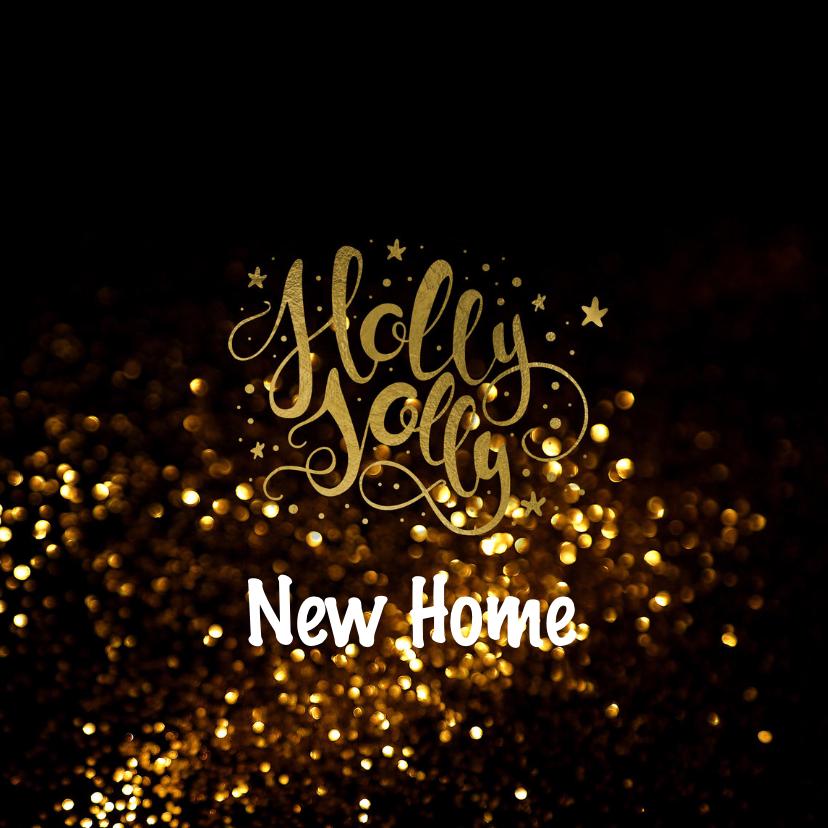 Kerstcombi verhuiskaart - neon goud look 2