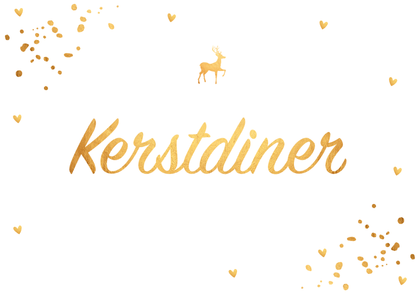Kerstdiner uitnodiging confetti goud - LB 2