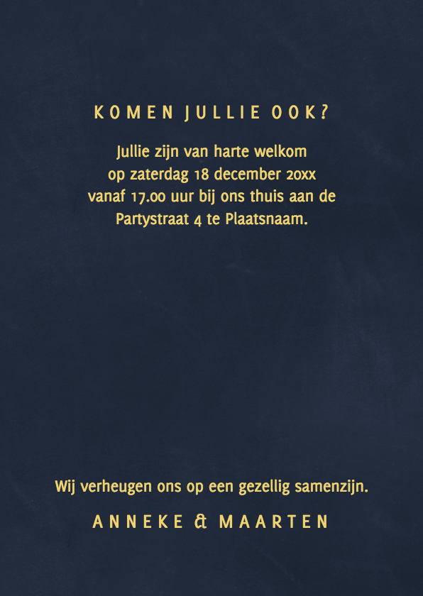 Kerstdiner uitnodiging Goud 3