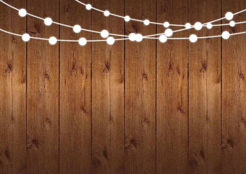 Kerstdiner uitnodiging hout rode ruit slinger 2