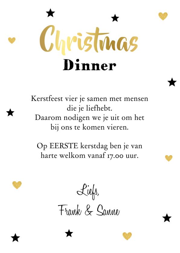 Kerstdiner uitnodiging label confetti zwart - LB 3
