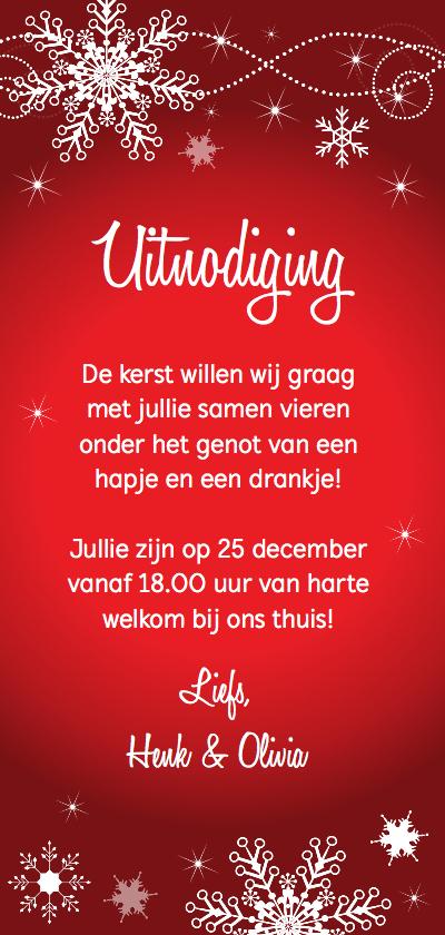 Kerstdiner uitnodiging langwerpig rood sneeuwvlokken achterkant