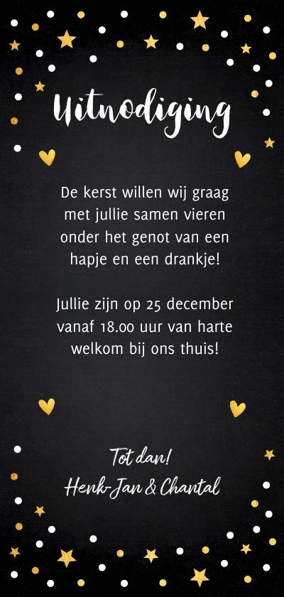 Kerstdiner uitnodiging zwart confetti goud 3