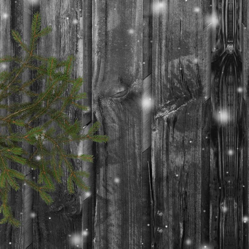 Kerstkaart 2x foto en label op hout 2