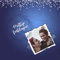 Kerstkaarten - Kerstkaart blauw sterretjes+foto-IP