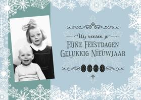 Kerstkaarten - Kerstkaart blauw WIJ wensen