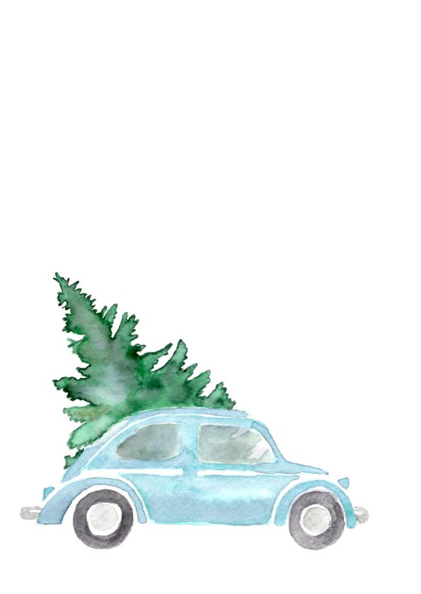 Kerstkaart blauwe kever in aquarel  2
