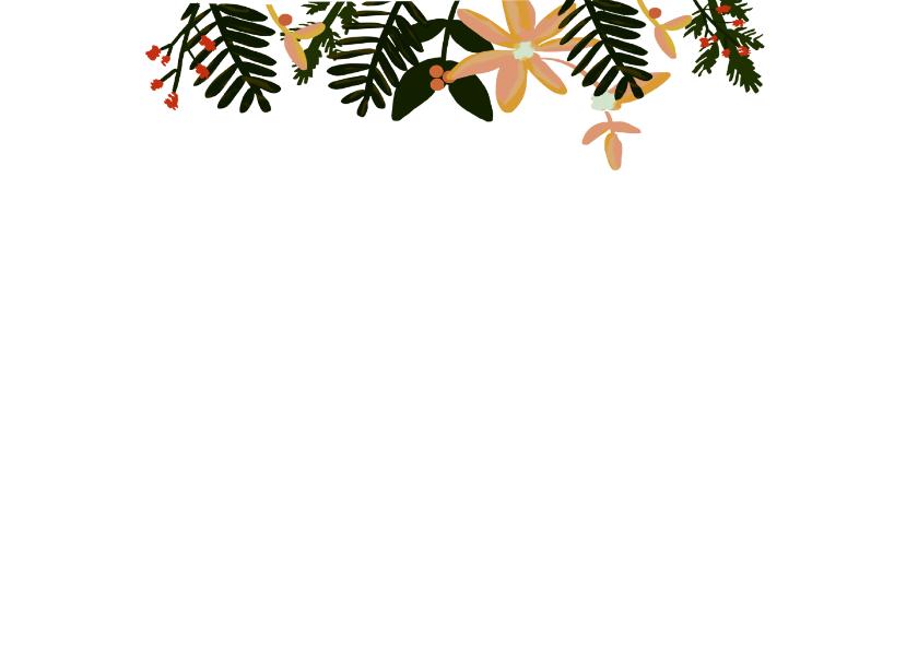 Kerstkaart bloemen kader -HM 2