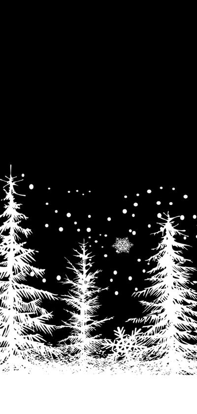 Kerstkaart bomen zwart-wit 2