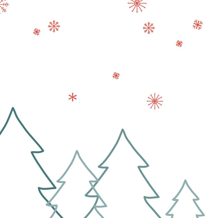 Kerstkaart bos blauw 2