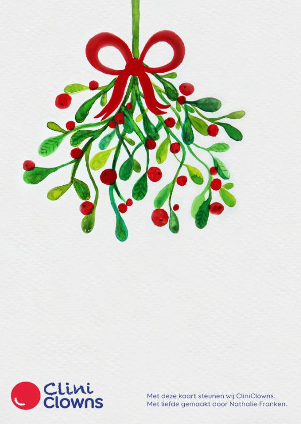 Kerstkaart CliniClowns mistletoe 2