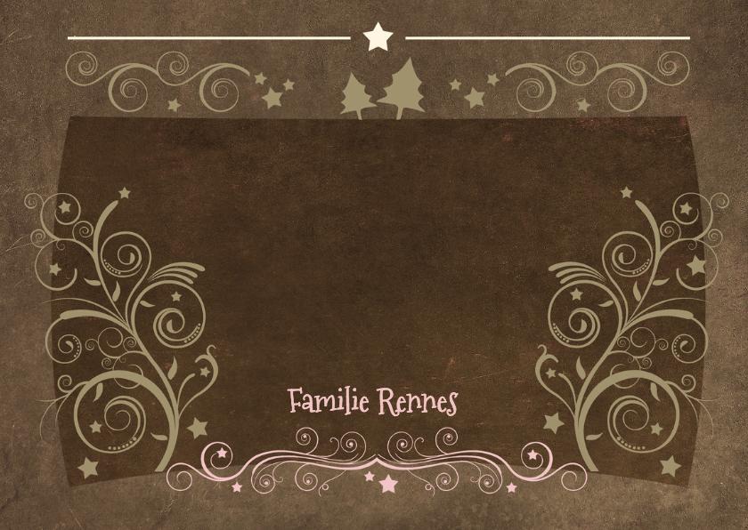 Kerstkaart decoratief 2 foto's bruin 3