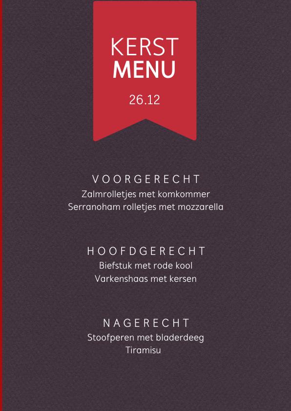 Kerstkaart dineren in kerstsfeer met mooie menukaart 3