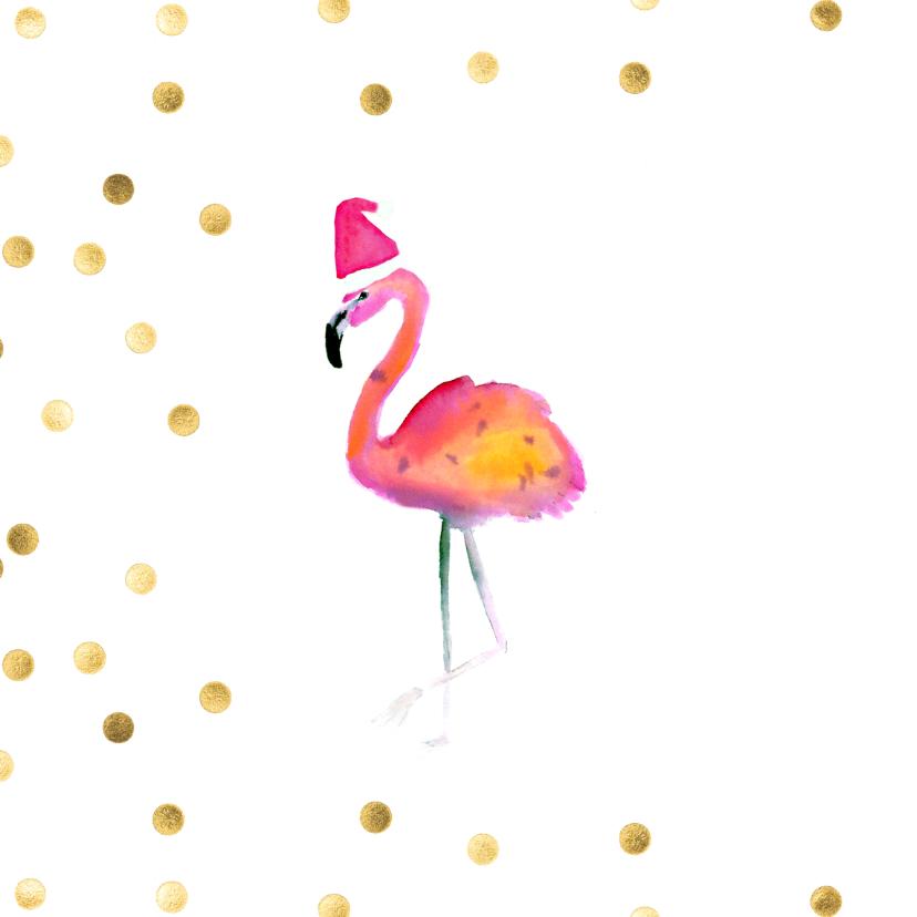 Kerstkaart flamingo met kerstmuts happy holidays  2