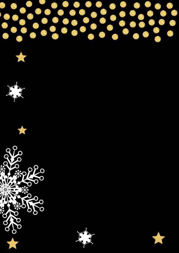 Kerstkaart foto confetti goud sneeuwvlokken - LB 2
