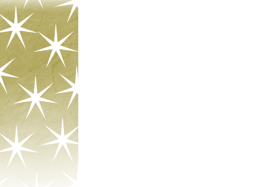 Kerstkaart foto en goud met sterren 2
