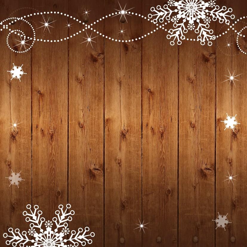 Kerstkaart foto hout sneeuwvlokken 2
