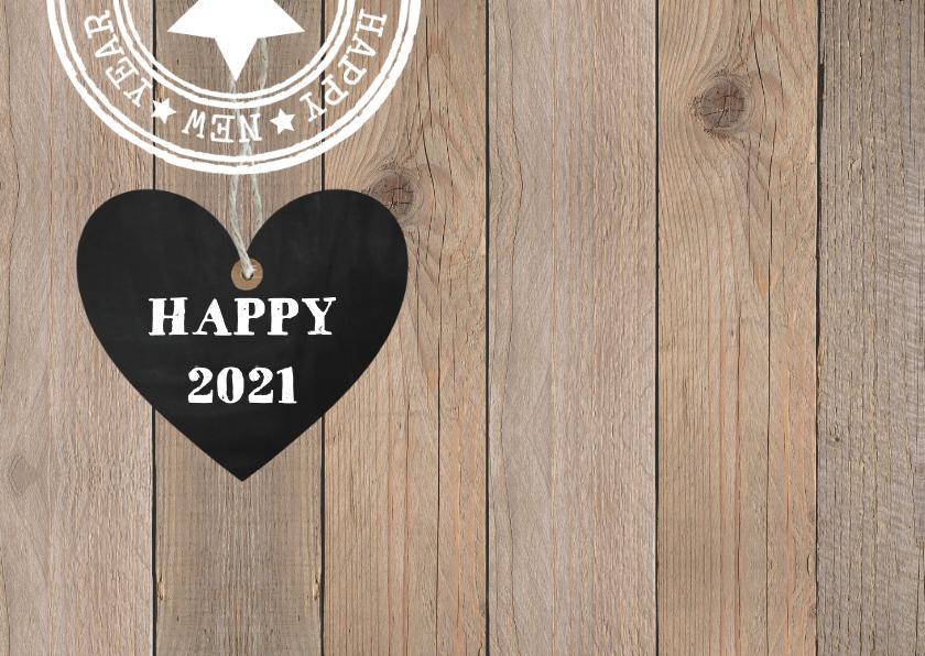 Kerstkaart foto krijtbord hartje houtprint 2