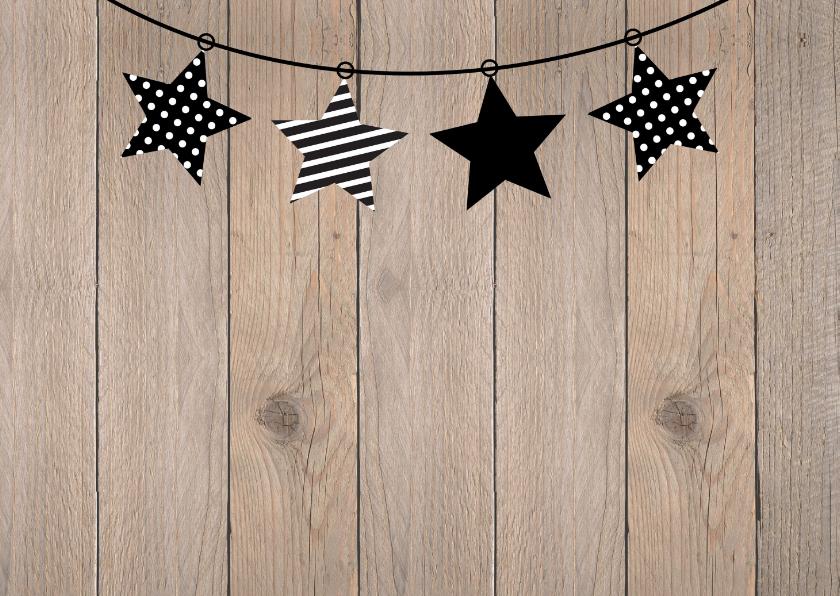 Kerstkaart foto slinger sterren hout  2