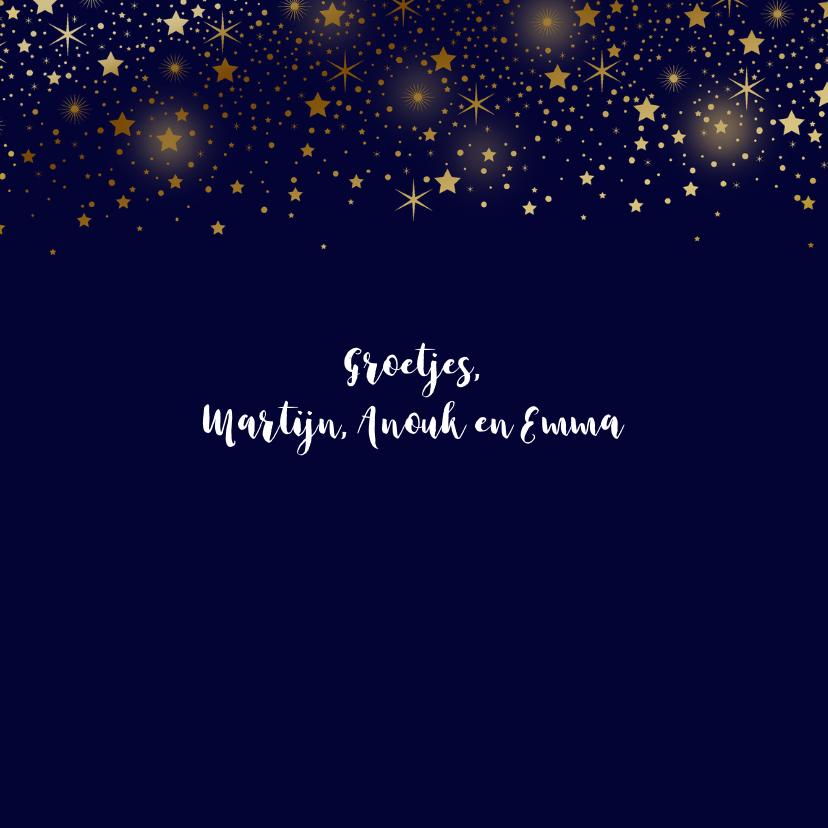 Kerstkaart foto sterren goud glitterlook 3