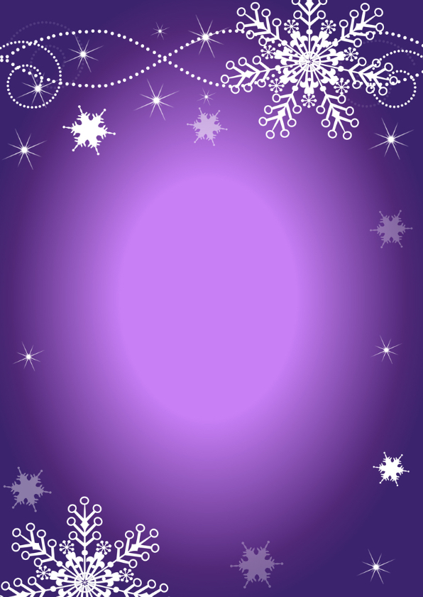 Kerstkaart fotocollage paars design sneeuwvlokken - LB 2