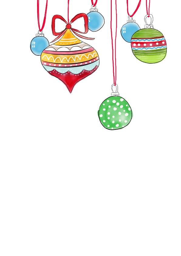 Kerstkaart gekleurde kerstballen getekend 2