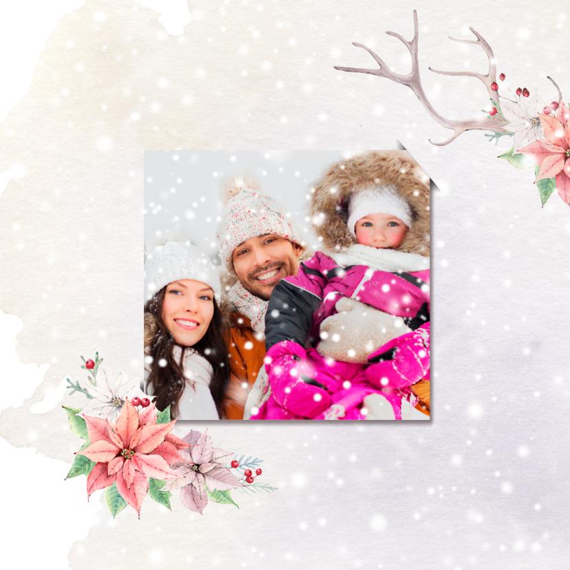 Kerstkaart gewei - kerstrozen - foto 2