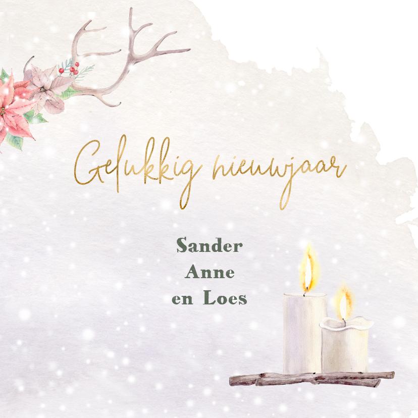 Kerstkaart gewei - kerstrozen - foto 3
