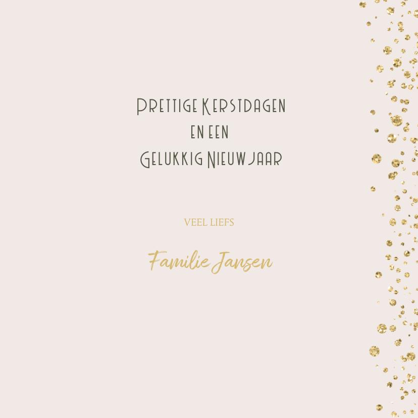 Kerstkaart goud glitter confetti 3