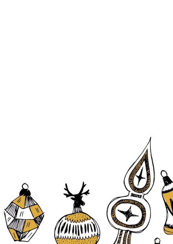 Kerstkaart gouden hangers op krijtbord 2