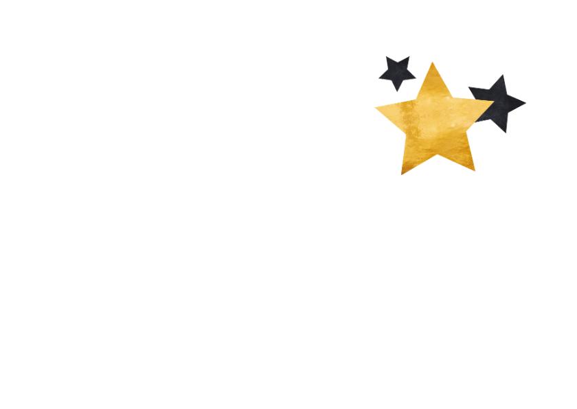 Kerstkaart gouden tekst en sterren 2