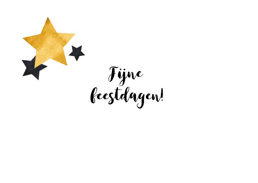 Kerstkaart gouden tekst en sterren 3