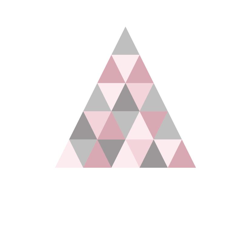 Kerstkaart grafisch grijs & roze 3