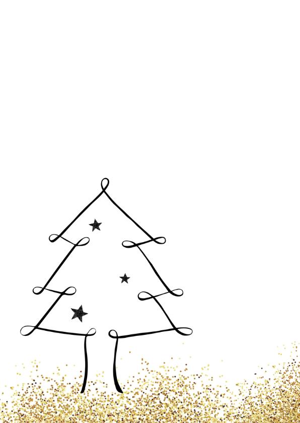 Kerstkaart handlettering kerstboom glitter 2