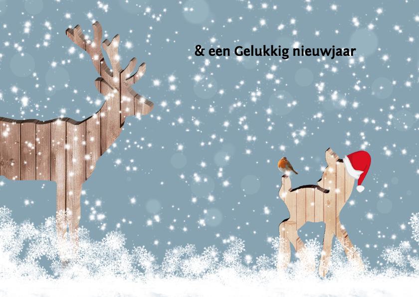 Kerstkaart hert met foto 3