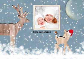 Kerstkaarten - Kerstkaart hert met foto