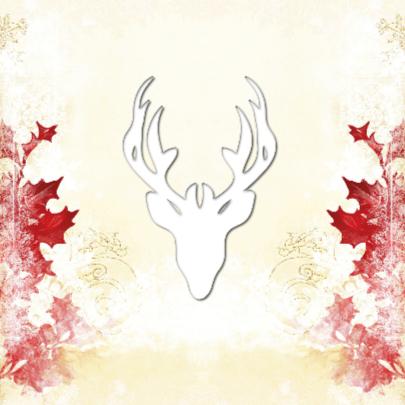 Kerstkaart hert met rode hulst - SG 2