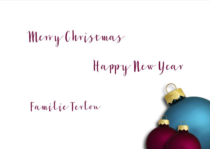 Kerstkaart kerstballen blauw paars op hout 3