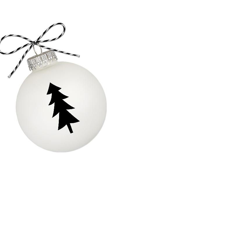 Kerstkaart Hout Witte Kerstbal F 2