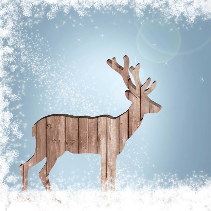 Kerstkaart houten hert 2