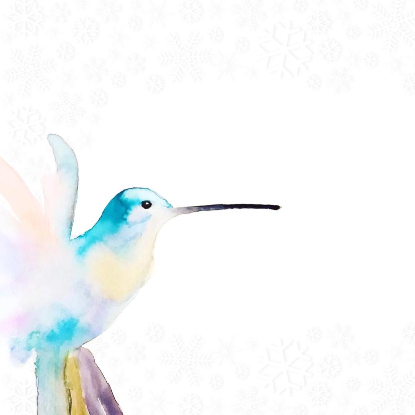 Kerstkaart hummingbird met winterse sneeuw vlokken 2
