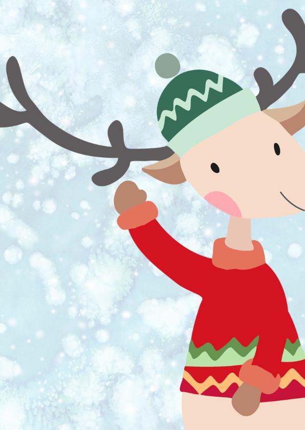 Kerstkaart illustratie aangekleed hert 2