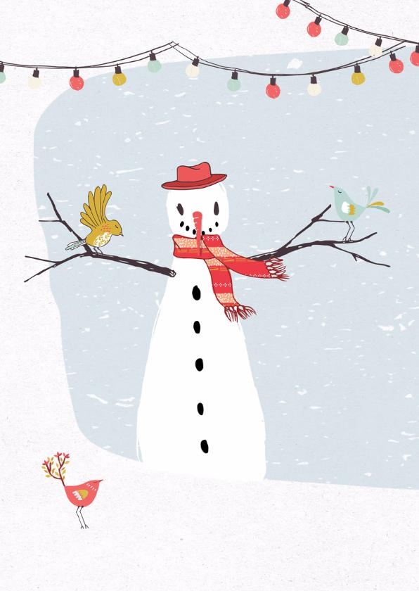Kerstkaart illustratie sneeuwpop 2